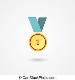 ouro, distinção, lugar, primeiro, medalha, ícone