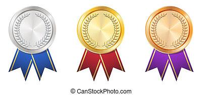 ouro, emblema, prata, bronze