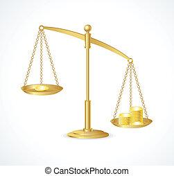 ouro, escalas, justiça, isolado, vetorial, branca