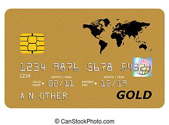 ouro, escarneça, isolado, cima, deposite cartão, white.