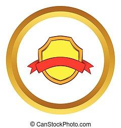 ouro, escudo, com, fita vermelha, vetorial, ícone