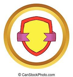 ouro, escudo, com, fita violeta, vetorial, ícone