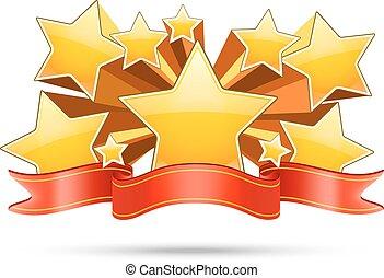 ouro, espaço, texto, fita, estrelas, seu, vermelho