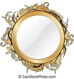 ouro, espelho