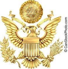 ouro, estados, selo, unidas, grande