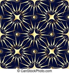 ouro, estrelas, e, sol, seamless, pattern.