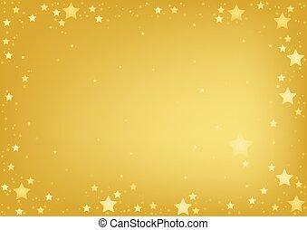 ouro, estrelas, fundo