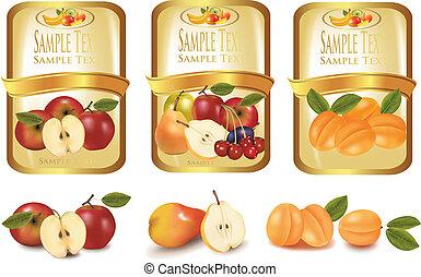 ouro, etiquetas, com, diferente, fruta
