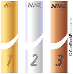 ouro, etiquetas, prata, bronze