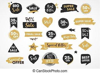 ouro, etiquetas, super, modernos, etiquetas, venda, mão, pretas, desenhado, adesivos