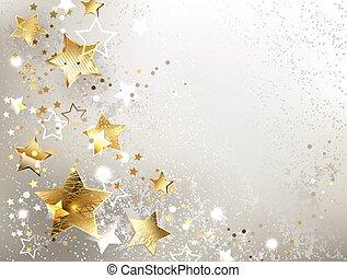 ouro, experiência cinza, estrelas