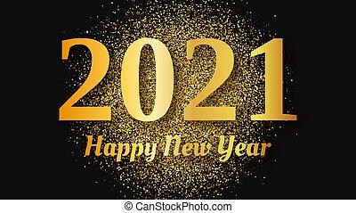 ouro, feliz, 2021, ano novo, fundo