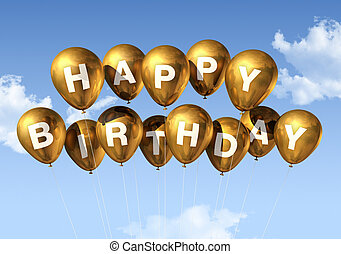 ouro, feliz aniversário, balões, em, a, céu