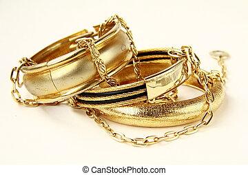 ouro, femininas, jóia, pulseiras, e