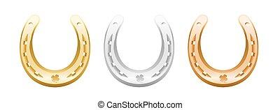 ouro, ferraduras, prata, bronze