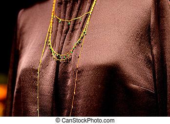 ouro, fio, jóias, supermodel, gasto, colar, durante,...