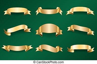 ouro, fitas, jogo, ligado, verde, 1