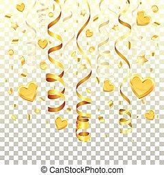 ouro, flâmula, fundo, transparente