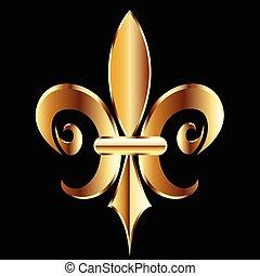 ouro, fleur, de, lis., nova orleães, símbolo, logotipo