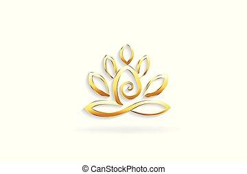 ouro, flor lotus, homem ioga, logotipo, símbolo
