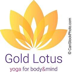 ouro, flor lotus, ilustração