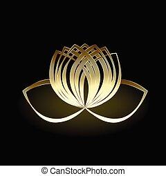 ouro, flor lotus, logotipo, vetorial