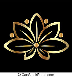 ouro, flor lotus