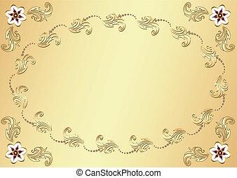 ouro, flor, páscoa, fundo, (vector)