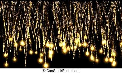 ouro, fogos artifício, e, luz