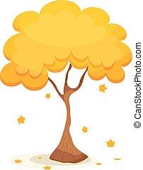 ouro, folhas, árvore, leaves., amarela, outono, queda, branca, maple