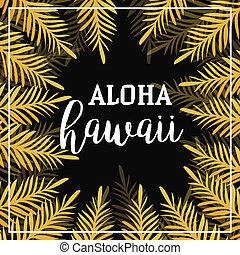 ouro, folhas palma, experiência., seamless, verão, experiência., aloha, hawaii., trópico, palm., palma, leaf., verão, ouro, trópico, palm., ouro, quadrado, frame., vetorial, illustration.