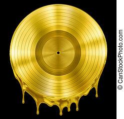 ouro, fundido, ou, derretido, registro, música, disco,...