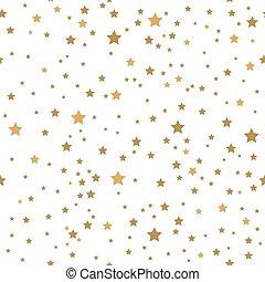 ouro, fundo branco, estrelas, seamless, pattern.