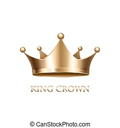 ouro, fundo, isolado, coroa, branca