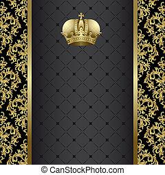ouro, fundo, pretas