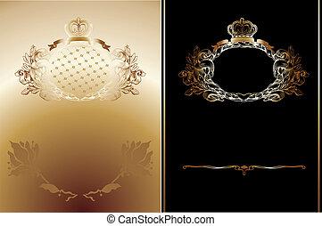 ouro, fundos, real, alto, pretas, ornate