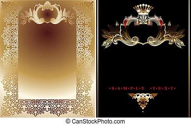 ouro, fundos, real, dois, pretas, ornate