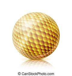 ouro, golfe, ball., 3d, realístico, vetorial, illustration., isolado, branco, experiência.