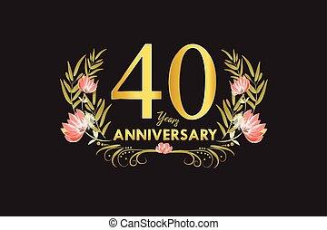 ouro, grinalda, aniversário, 40, anos, aquarela, vetorial