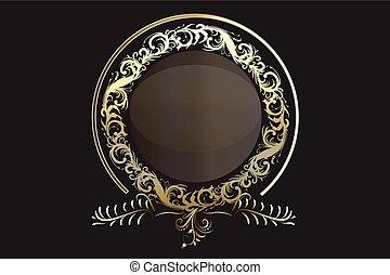 ouro, grinalda, aniversário, elemento, vetorial, floral, logotipo