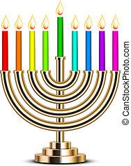 ouro, hanukkah, menorah