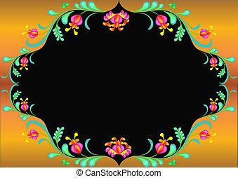 ouro, ilustração, floral, quadro, ornamento