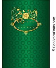 ouro, ilustração, vetorial, verde, floral, cartão