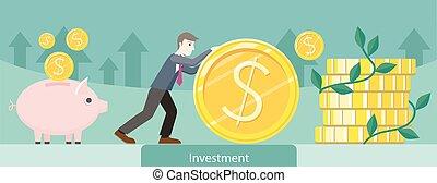 ouro, investimento, desenho, dinheiro, moeda
