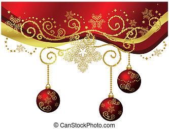 ouro, &, isolado, borda, natal, vermelho