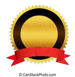 ouro, isolado, vermelho, selo, medalha, fita