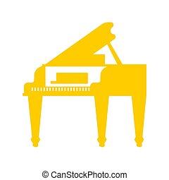 ouro, isolated., ilustração, instrumento, vetorial, piano grande, musical