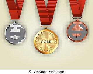 ouro, jogo, medalhas, bronze, prata
