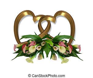 ouro, lírios calla, corações