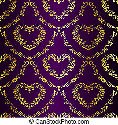 ouro, ligado, roxo, seamless, sari, padrão, com, corações